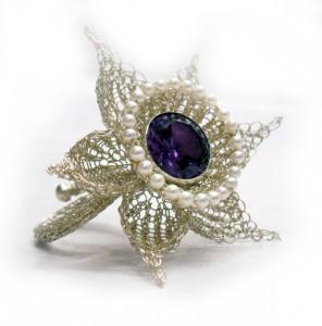 Flower Ring Silber Amethyst