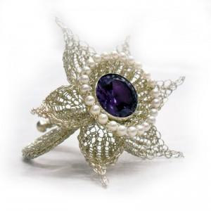 Blütenring gestrickt, Silber 925/000, Amethyst, Perlen