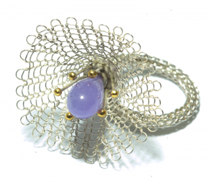 Strickring Lilalie, Silber, 750/000 Gold, Amethyst
