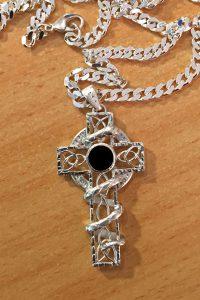 Keltenkreuz Silber Onyx