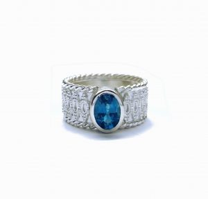 "Ring ""Spitze"" Silber/ Topas London Blue"